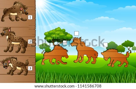 Cartoon hyena collection set. Find the correct shadow on board. Educational game for children