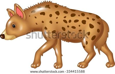 Cartoon hyena mascot isolated on white background