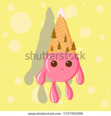 cartoon ice cream cone abstract