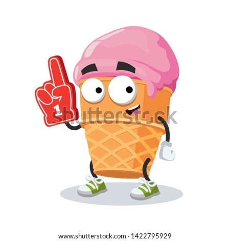 cartoon ice cream in a waffle
