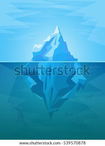 cartoon iceberg in ocean with