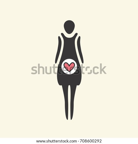 Cartoon icon of a pregnant girl. Birth of a child. Vector graphic illustration, logo silhouette for design.  #708600292