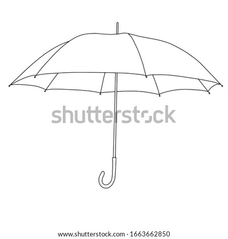 Cartoon icon with umbrella line art. doodle illustration. Vector isolated on white background. Sketch vector illustration.