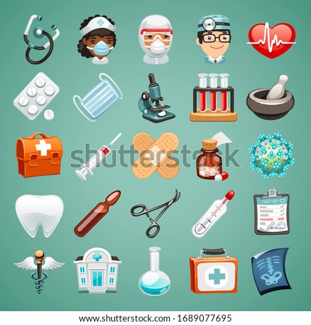 Cartoon icons on a medical theme. Avatars of characters of doctors and nurse. Objects for treatment, tablets, test tubes, first aid kit, syringe, vaccine, mask and other accessories. Realistic style.