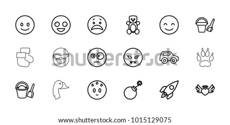 cartoon icons set of 18