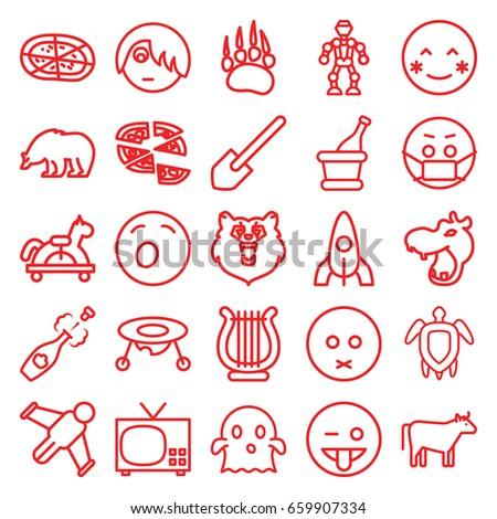 cartoon icons set set of 25