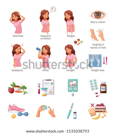 Cartoon icons set with woman who has diabetes symptoms medical tools food and objects for healthy lifestyle isolated on white background vector illustration