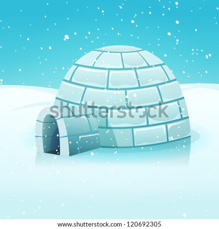 cartoon igloo in polar winter