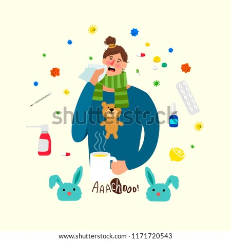 Cartoon ill woman. Sick female person with cold and flu, girl with heat illness, medications and headache vector cartoon concept