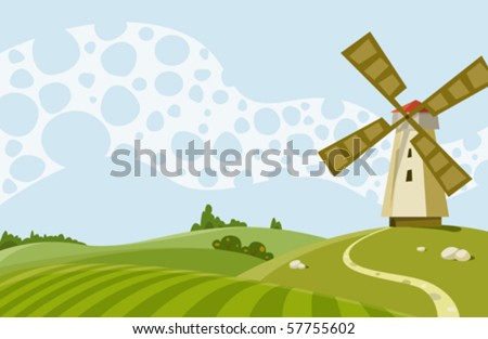 Cartoon Illustration a landscape with a windmill - stock vector