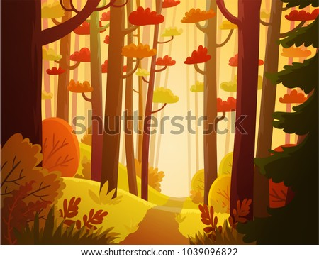 Cartoon illustration background of colorful forest in autumn