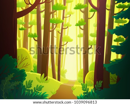 Cartoon illustration background of sunny green forest in spring