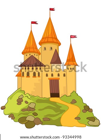 Cartoon Illustration Castle Isolated on White Background. Vector.