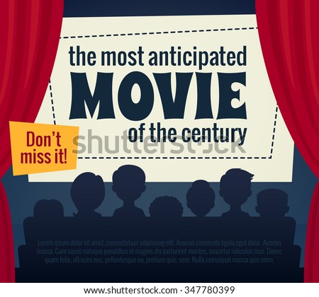 Cartoon illustration / Cinema poster with audience, screen and red curtains / Vector illustration for film premiere