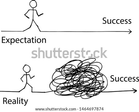 cartoon illustration line about expectation and reality, white background, line vector illustration Stock photo ©