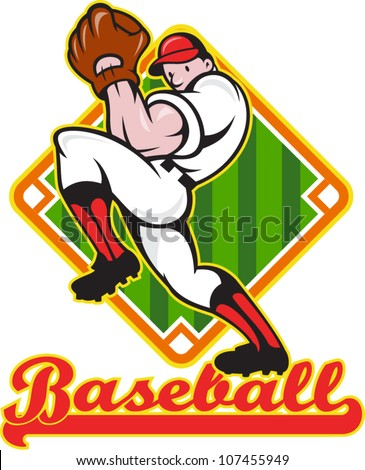 """Cartoon illustration of a baseball player pitcher pitching ball facing front with diamond field in background with text wording """"baseball"""""""