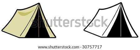Cartoon illustration of a boy scout or trapper style tent iv color and black and white