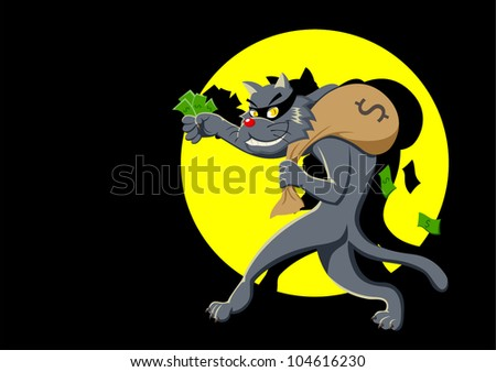 Cartoon illustration of a cat with a bag of money being spotlighted