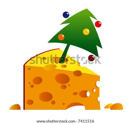 cartoon illustration of a cheese with fir for a 2008-year congratulation use