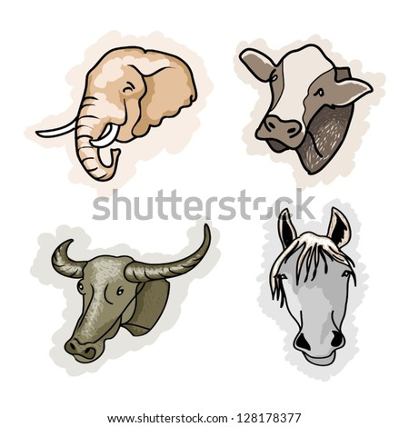 Cartoon Illustration of A Collection of Benefit Animal Icon, Elephant, Cow, Buffalo and Horse