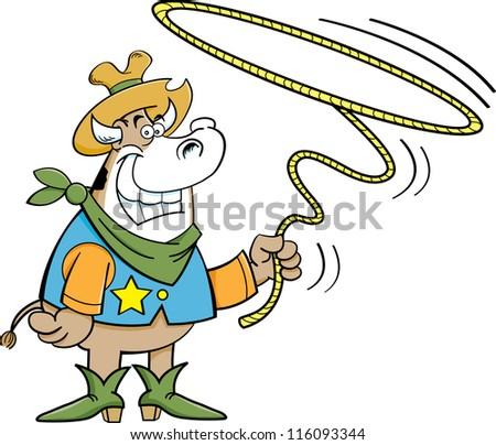 Cartoon illustration of a cowboy cow twirling a lariat
