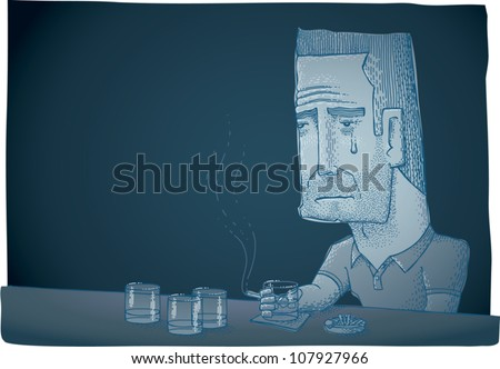 Cartoon illustration of a depressed man crying while sitting at a bar, smoking and drinking. Low key monochromatic blue, with plenty of copy space.