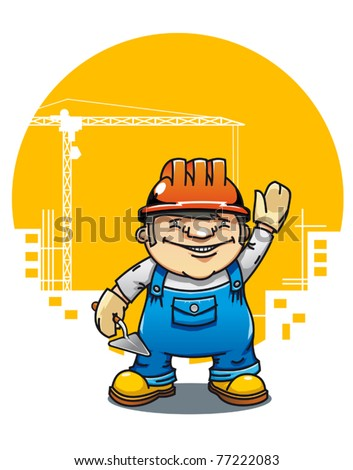 Cartoon illustration of a friendly construction worker or bricklayer holding a cement trowel and wearing a hardhat standing waving. Jpeg version also available
