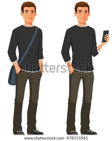 cartoon illustration of a friendly young guy in casual outfit