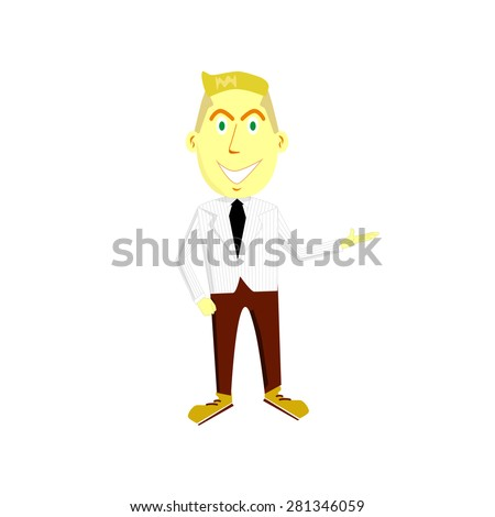 cartoon illustration of a friendly young man in suit