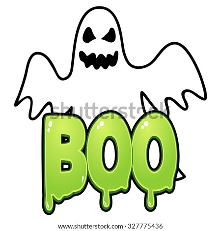 Cartoon illustration of a ghost with boo text