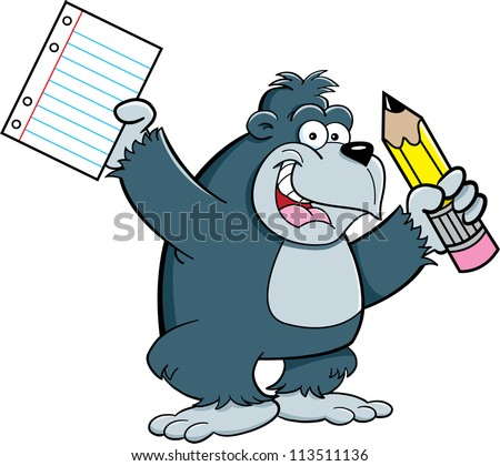 Cartoon illustration of a gorilla holding a pencil and paper