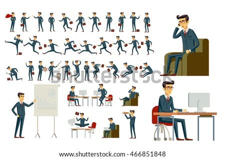 cartoon illustration of a handsome young businessman in various poses vector art