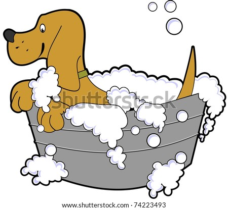 cartoon illustration of a happy dog taking a bath in a tub of soapy water