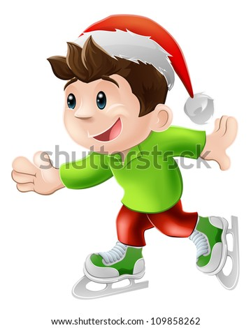 Cartoon illustration of a happy young man or boy having and ice skate in a Christmas Santa hat