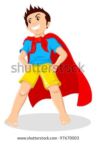 Cartoon illustration of a kid playing a superhero