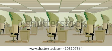 Cartoon illustration of a large office filled with mindless identical workers all pushing a big red button on their desks in unison.