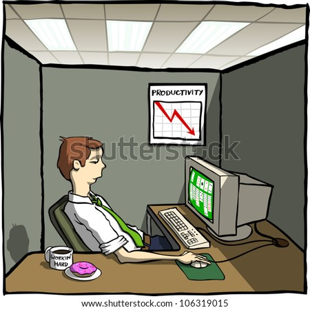 Cartoon illustration of a lazy office worker playing computer solitaire in his crowded cubicle. He has coffee and a donut on his desk, and a chart on the wall shows productivity going down.