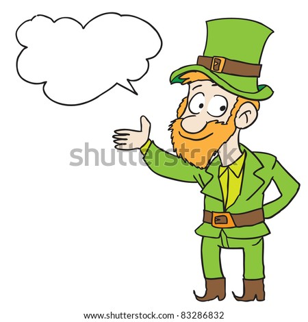 Cartoon illustration of a leprechaun speaking something