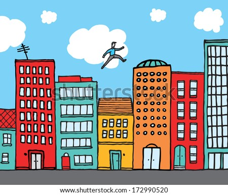 Cartoon illustration of a man practising parkour over buildings in an urban skyline
