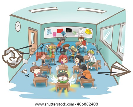 cartoon illustration of a messy