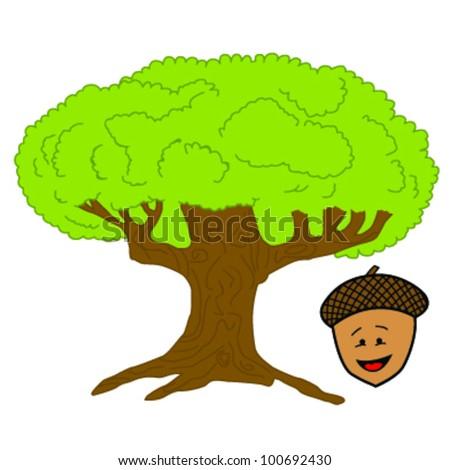 Oak Tree Cartoon Cartoon Illustration of a Oak