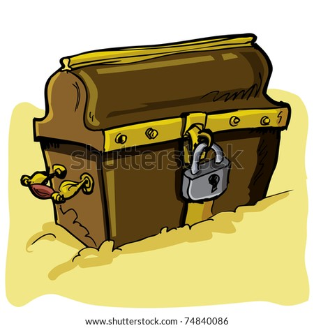 Cartoon illustration of a pirate chest isolated on white