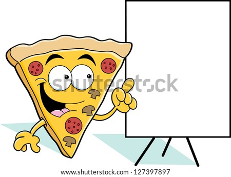 Cartoon illustration of a pizza slice pointing to a sign.