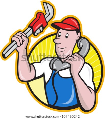 Cartoon illustration of a plumber worker repairman tradesman with adjustable monkey wrench talking on telephone phone set inside circle.