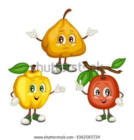 Cartoon Illustration Of A Quince Ximenia And Ugli Fruit Cute Mascots Vector