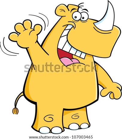 Cartoon illustration of a Rhino waving