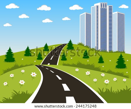 cartoon illustration of a road