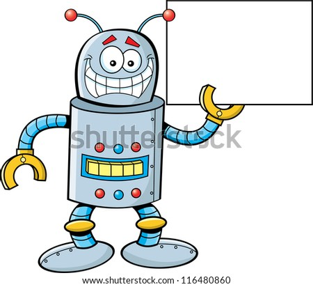 Cartoon illustration of a robot holding a sign