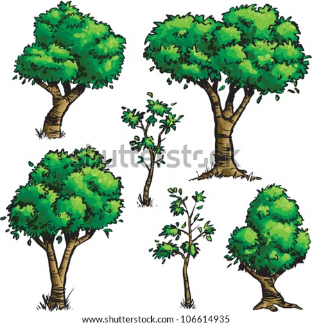 Cartoon illustration of a set of green leafy trees isolated on a white background.