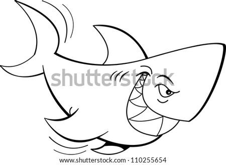 Cartoon illustration of a shark